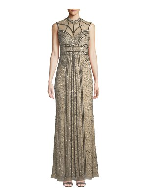 Parker Black Izzy Beaded Mesh Mock-Neck Sleeveless Gown
