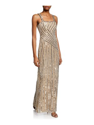 Parker Black Lisbeth Motif Beaded Mesh Sleeveless Column Gown