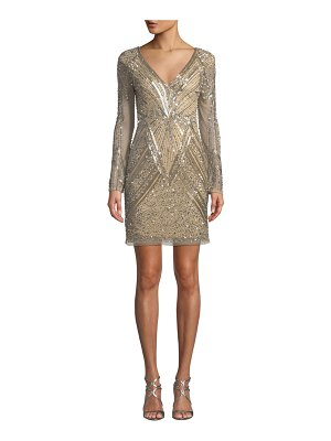 Parker Janette Metallic Bead Short Dress