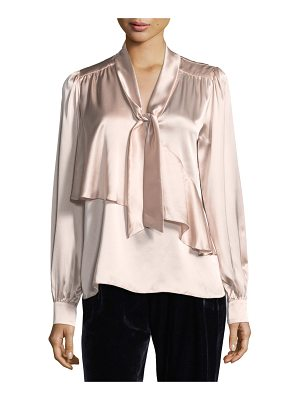 PARKER Kinsley Tie-Neck Long-Sleeve Silk Satin Blouse