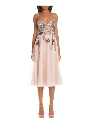 PatBO beaded floral bustier tea length a-line dress