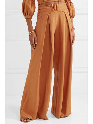 PatBO belted woven wide-leg pants