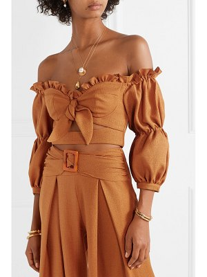 PatBO cropped ruffled off-the-shoulder woven top