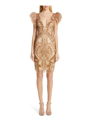 PatBO feather trim beaded minidress