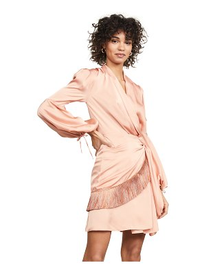 PatBO fringe trim mini wrap dress