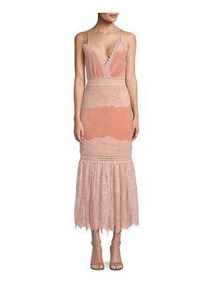 PatBO lace & velvet plunging dress