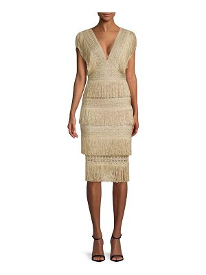 PatBO metallic fringe midi dress