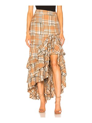 PatBO Plaid Ruffle Midi Skirt