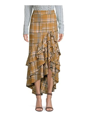 PatBO plaid ruffled midi skirt
