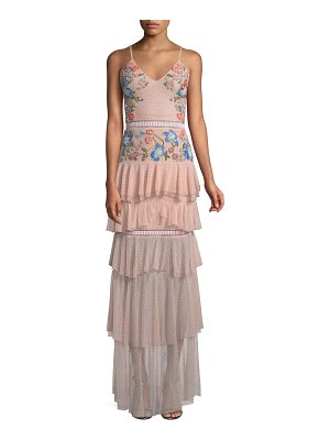 Patricia Bonaldi Embroidered Tiered Ruffle Gown