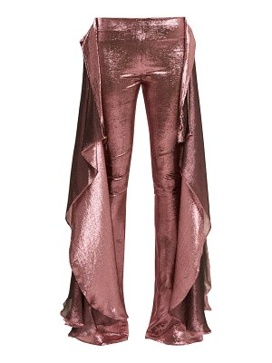PAULA KNORR relief high rise ruffled silk blend lamé trousers