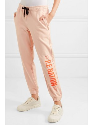 P.E NATION exposure printed french cotton-terry track pants