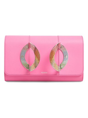 PERRIN la croisette crystal embellished leather clutch