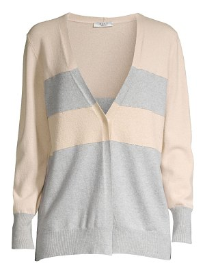 Peserico colorblock striped wool, silk & cashmere cardigan