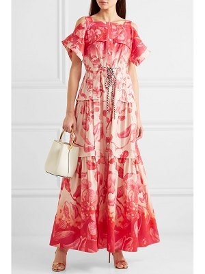 Peter Pilotto cold-shoulder tiered floral-print cotton maxi dress