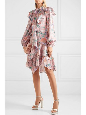 Peter Pilotto ruffled floral-print hammered silk-blend dress