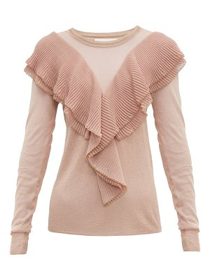 Peter Pilotto ruffled scalloped edge lurex sweater