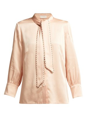 Peter Pilotto tie neck grosgrain trimmed satin blouse