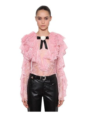 Philosophy di Lorenzo Serafini Ruffle sheer lace top