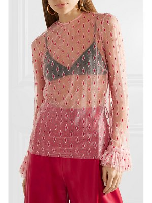 Philosophy di Lorenzo Serafini ruffle-trimmed embroidered tulle blouse
