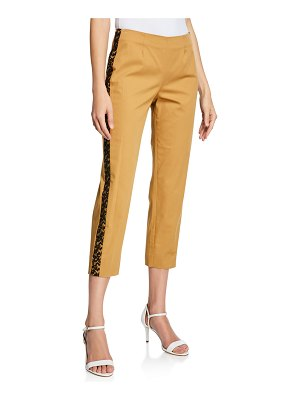 Piazza Sempione Audrey Lace-Trim Cotton Pants