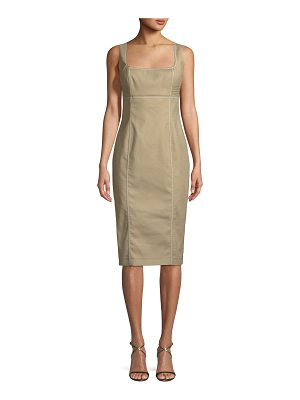Piazza Sempione Cotton Sateen Bustier Sleeveless Sheath Dress
