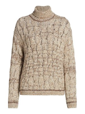 Piazza Sempione lurex cable knit turtleneck sweater