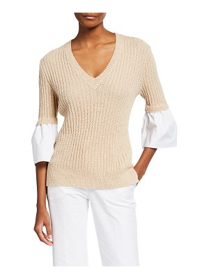 Piazza Sempione Mixed-Media 3/4-Sleeve Sweater