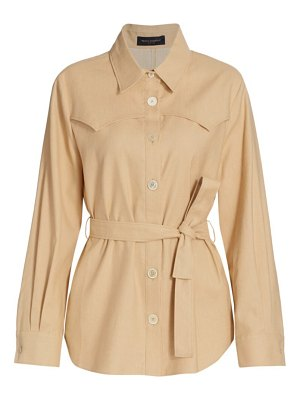 Piazza Sempione saharian linen-blend belted shirt jacket