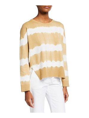 Piazza Sempione Tie-Dye Striped Cotton Sweater