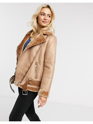 Pieces aviator jacket in tan