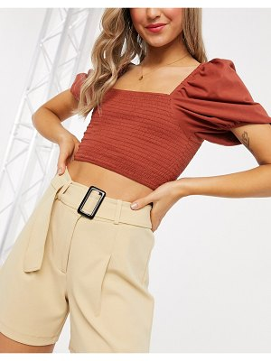 Pieces belted city shorts in beige