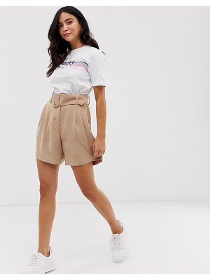 Pieces belted soft tailored shorts-beige