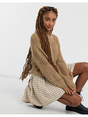 Pieces cable sweater in camel-beige