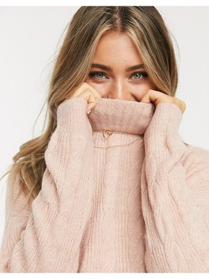 Pieces cable sweater with high neck in pink