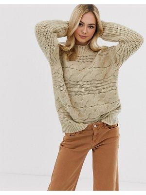 Pieces chunky cable knit oversized sweater in beige