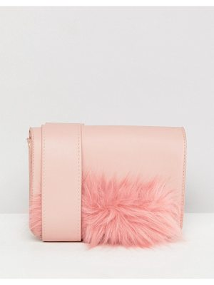 Pieces Faux Fur Panel Camera Bag With Crossbody Strap