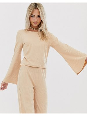 Pieces jersey rib top with flared sleeve