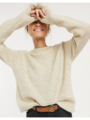Pieces knitted sweater in beige