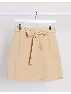 Pieces linen mix mini skirt with tie waist in sand-beige