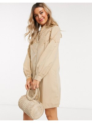 Pieces poplin shirt dress with lace detail in beige-cream