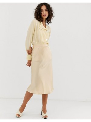 Pieces satin midi skirt-beige