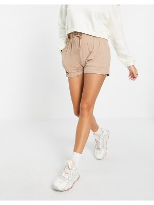 Pieces shorts with paperbag waist in camel-neutral