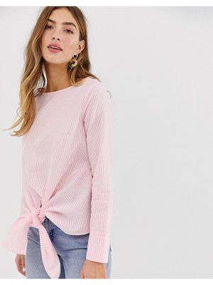 Pieces striped top with knot front-pink