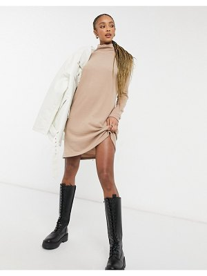 Pieces sweater dress with high neck in camel-brown