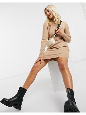 Pieces sweater dress with high neck in camel-cream