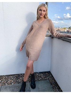Pieces sweater dress with v neck in camel-beige
