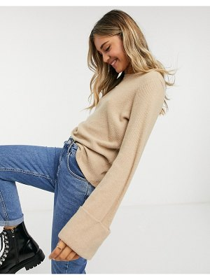 Pieces sweater with deep cuffs in beige