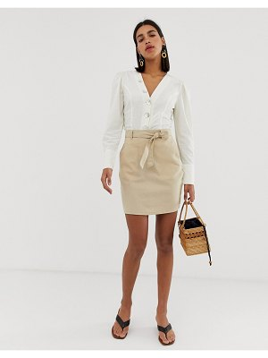 Pieces tie waist mini skirt-beige