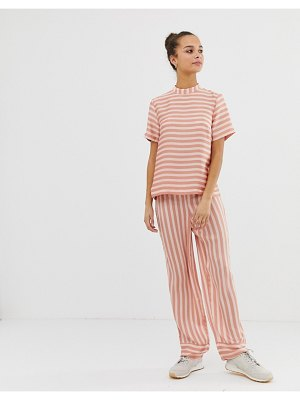Pieces tika stripe wide leg pants